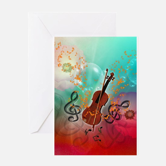 Violin with violin Greeting Cards