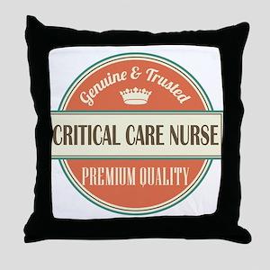 critical care nurse vintage logo Throw Pillow