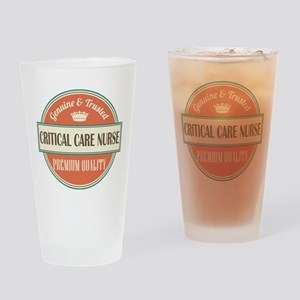critical care nurse vintage logo Drinking Glass