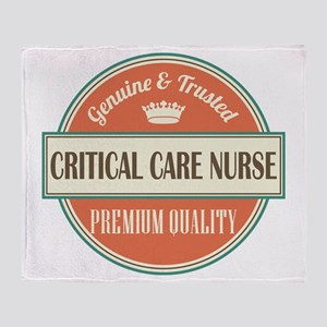critical care nurse vintage logo Throw Blanket