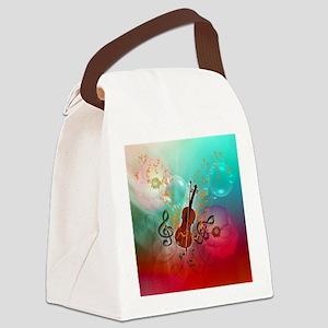 Violin with violin Canvas Lunch Bag