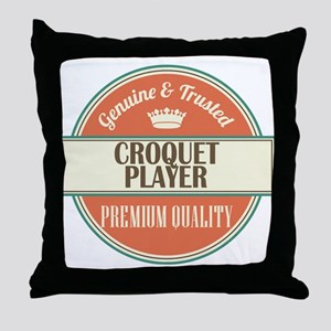 croquet player vintage logo Throw Pillow