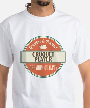 croquet player vintage logo White T-Shirt