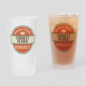 croquet player vintage logo Drinking Glass