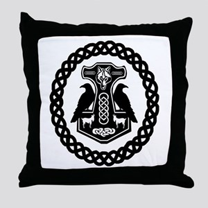 Thor's Hammer in Celtic Knot Circle Throw Pillow