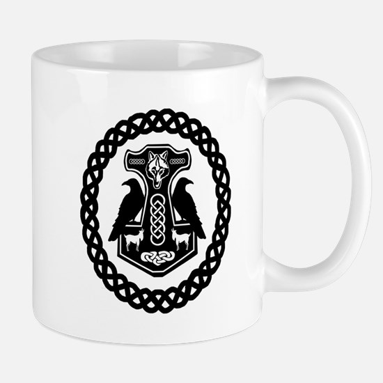Thor's Hammer in Celtic Knot Circle Mugs