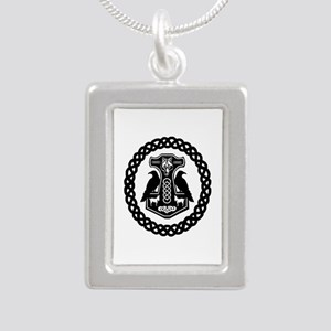 Thor's Hammer In Celtic Knot Circle Necklaces