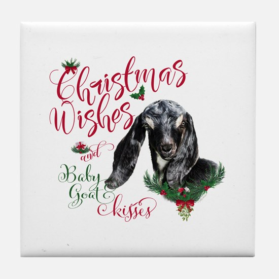 Christmas Wishes Baby Goat Kisses - N Tile Coaster