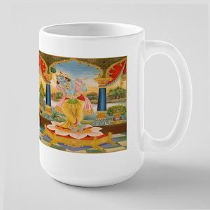 Krishna On Lotus Blossom Large Mug