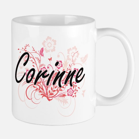 Corinne Artistic Name Design with Flowers Mugs