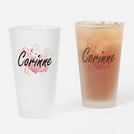 Corinne Artistic Name Design with F Drinking Glass