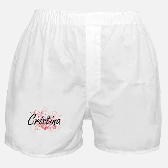 Cristina Artistic Name Design with Fl Boxer Shorts