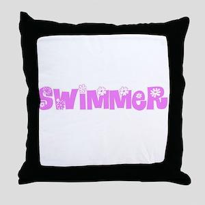 Swimmer Pink Flower Design Throw Pillow