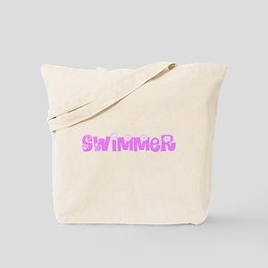 Swimmer Pink Flower Design Tote Bag