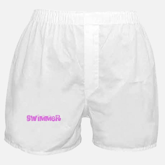 Swimmer Pink Flower Design Boxer Shorts
