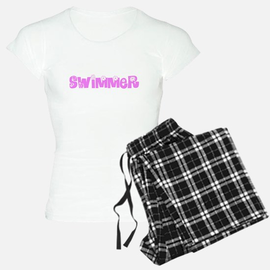 Swimmer Pink Flower Design Pajamas