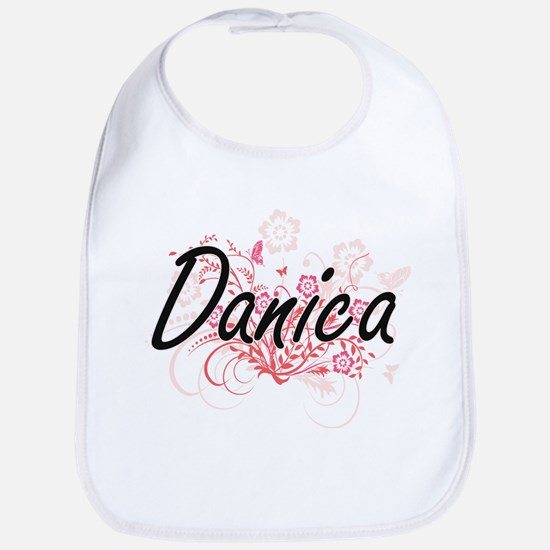 Danica Artistic Name Design with Flowers Bib