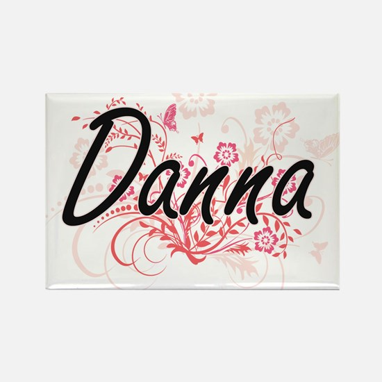 Danna Artistic Name Design with Flowers Magnets