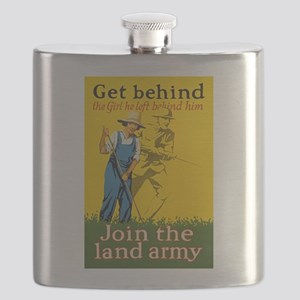 Victory Garden Join Land Army WWI Propaganda Flask