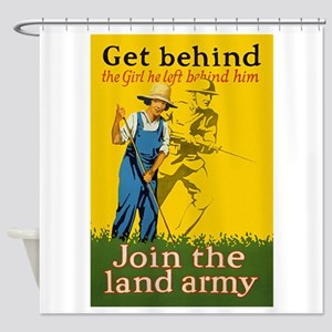 Victory Garden Join Land Army WWI P Shower Curtain