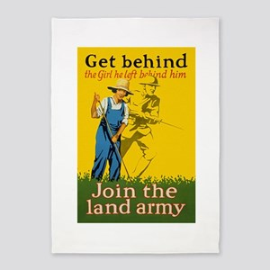 Victory Garden Join Land Army WWI P 5'x7'Area Rug
