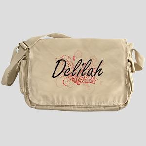 Delilah Artistic Name Design with Fl Messenger Bag