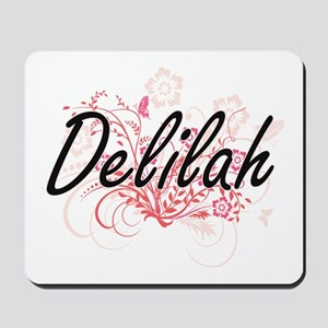 Delilah Artistic Name Design with Flower Mousepad