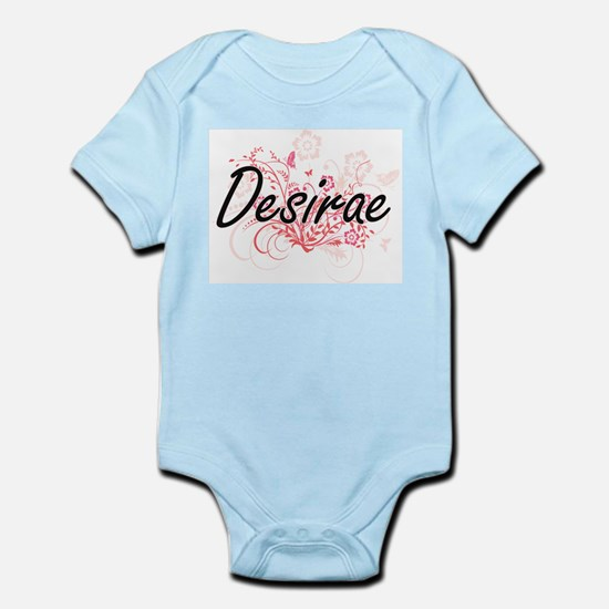 Desirae Artistic Name Design with Flower Body Suit