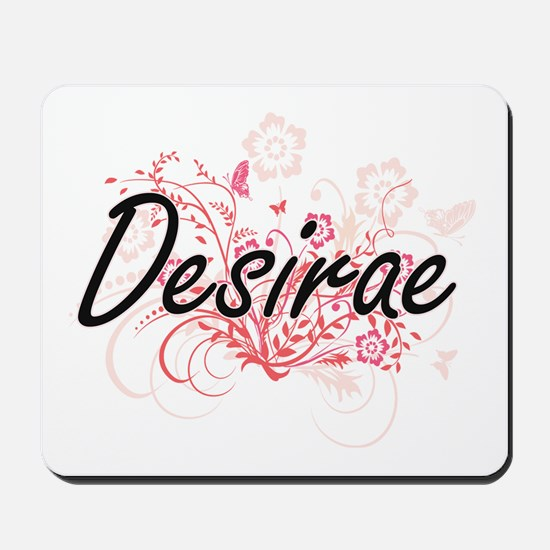 Desirae Artistic Name Design with Flower Mousepad