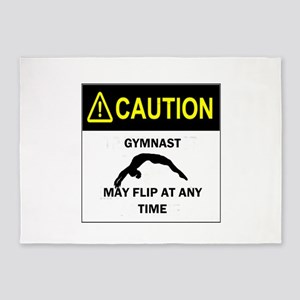 Caution Gymnast 5'x7'Area Rug