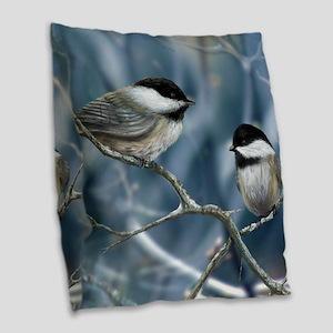 chickadee song bird Burlap Throw Pillow
