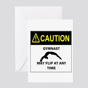 Caution Gymnast Greeting Cards