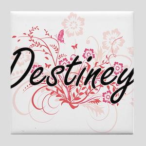 Destiney Artistic Name Design with Fl Tile Coaster