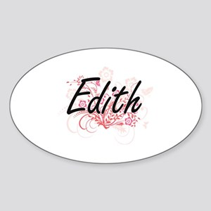 Edith Artistic Name Design with Flowers Sticker