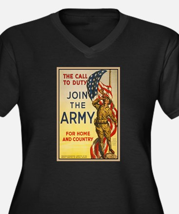 WWI Join the Women's Plus Size V-Neck Dark T-Shirt