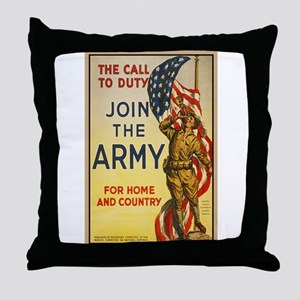 WWI Join the Call to Duty Army Propag Throw Pillow