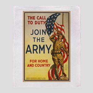 WWI Join the Call to Duty Army Propa Throw Blanket