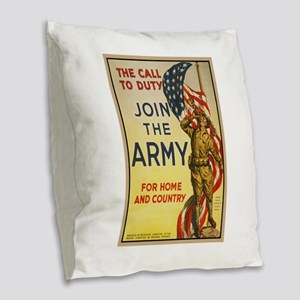 WWI Join the Call to Duty Army Burlap Throw Pillow