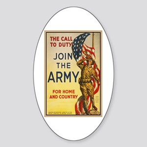 WWI Join the Call to Duty Army Prop Sticker (Oval)