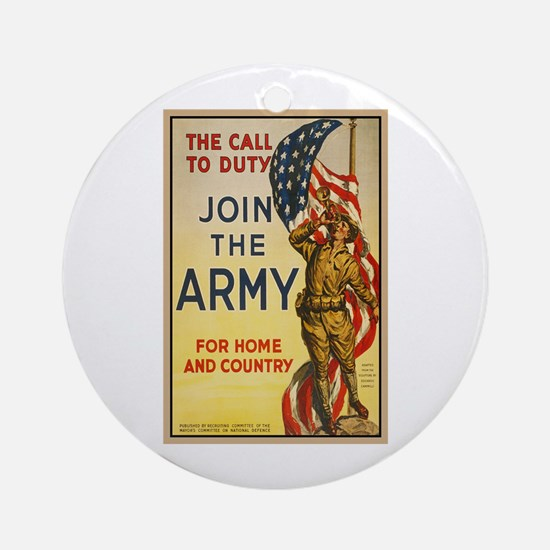 WWI Join the Call to Duty Army Prop Round Ornament