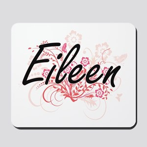 Eileen Artistic Name Design with Flowers Mousepad