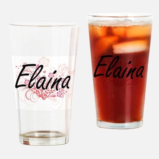 Elaina Artistic Name Design with Fl Drinking Glass