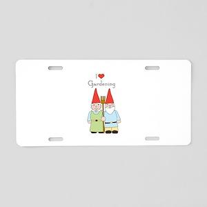 Gardening Gnome Couple Aluminum License Plate