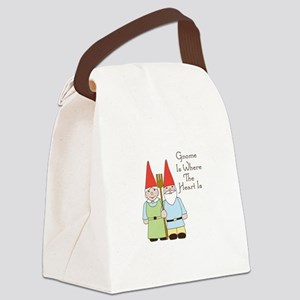 Gardening Gnome Couple Canvas Lunch Bag