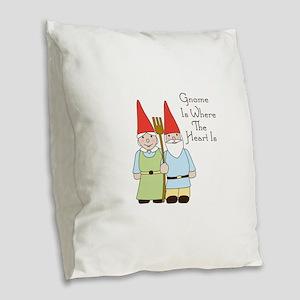 Gardening Gnome Couple Burlap Throw Pillow