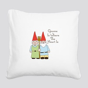 Gardening Gnome Couple Square Canvas Pillow