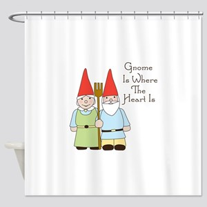 Gardening Gnome Couple Shower Curtain