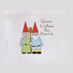 Gardening Gnome Couple Throw Blanket
