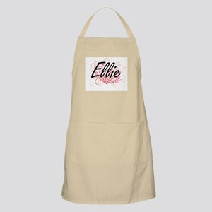 Ellie Artistic Name Design with Flowers Apron