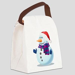 Christmas Snowman Canvas Lunch Bag